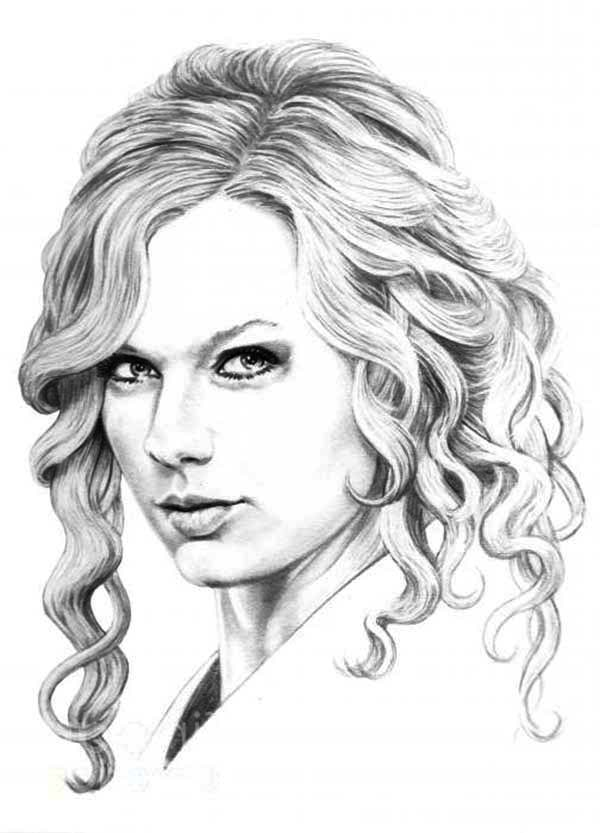 Taylor Swift, : Sketching Taylor Swift Coloring Page