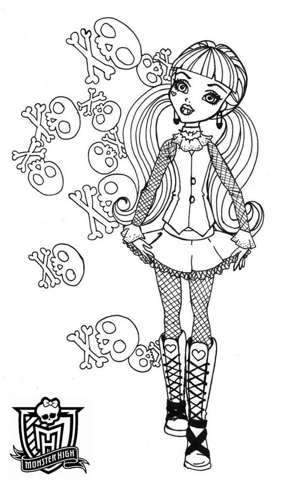 Monster High, : Skull of Draculaura in Monster High Coloring Page