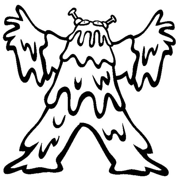 Monsters, : Slimy Monster Costume Coloring Page