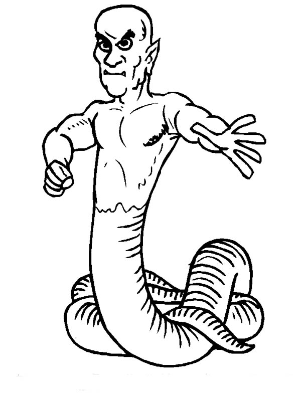 Monsters, : Snake Man Monster Coloring Page