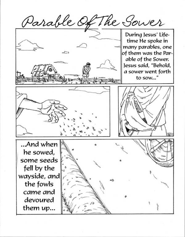 Parable of the Sower, : Some Seed Fell by the Wayside in Parable of the Sower Coloring Page