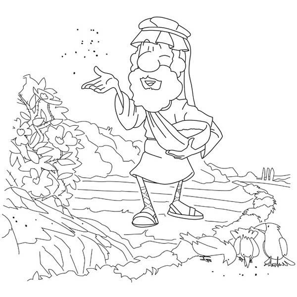 Parable of the Sower, : Spread Seed inside Bush in Parable of the Sower Coloring Page