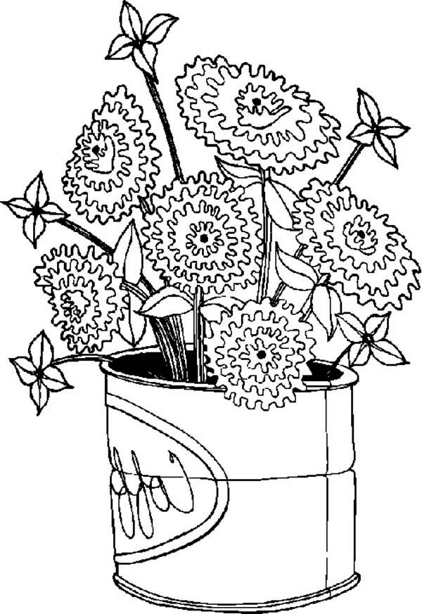 Spring Flower, : Spring Flower Bloom in Big Can Coloring Page