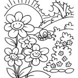 Spring Flower, Spring Flower Is Smiling When The Sun Come Up Coloring Page: Spring Flower is Smiling When the Sun Come Up Coloring Page