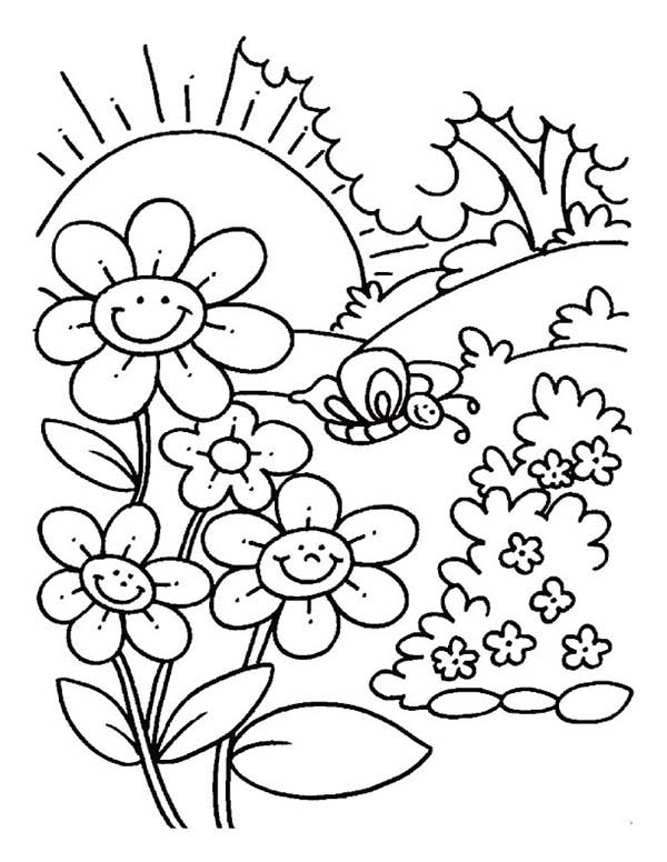 Spring Flower, : Spring Flower is Smiling When the Sun Come Up Coloring Page