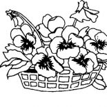 Spring Flower, Spring Flower On A Basket Coloring Page: Spring Flower on a Basket Coloring Page