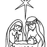 Nativity, Star Upon Bethlehem Sky When Jesus Is Born In Nativity Coloring Page: Star Upon Bethlehem Sky When Jesus is Born in Nativity Coloring Page