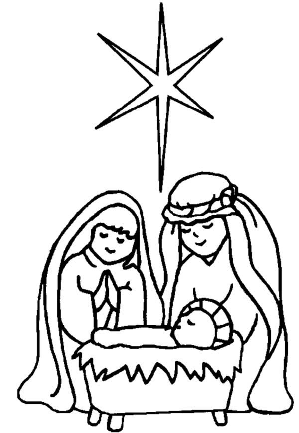 Nativity, : Star Upon Bethlehem Sky When Jesus is Born in Nativity Coloring Page