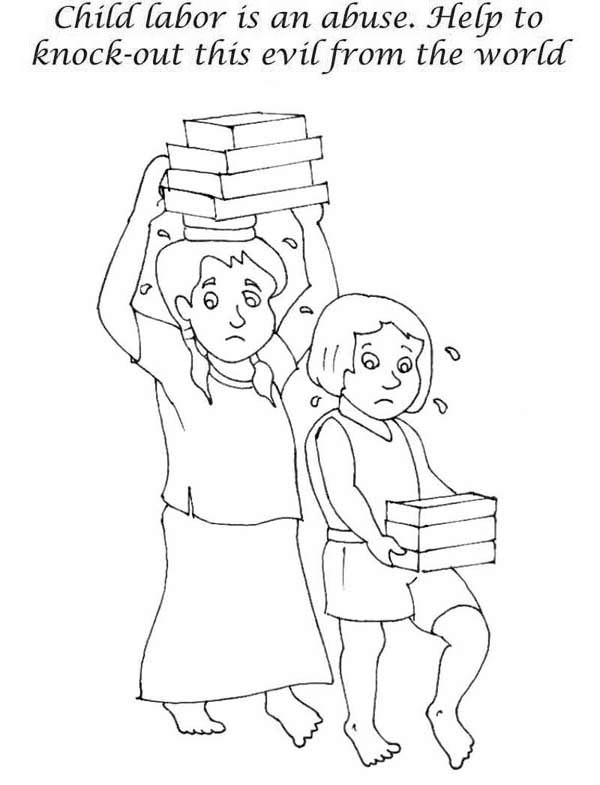 Stop Children Labor In Labor Day Coloring Page Color Luna