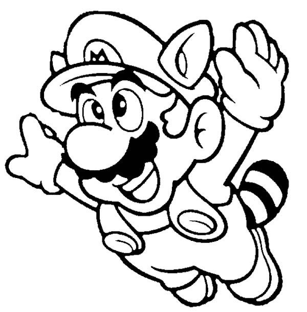 Mario Brothers, : Super Mario Brothers Fyling to th Sky Coloring Page