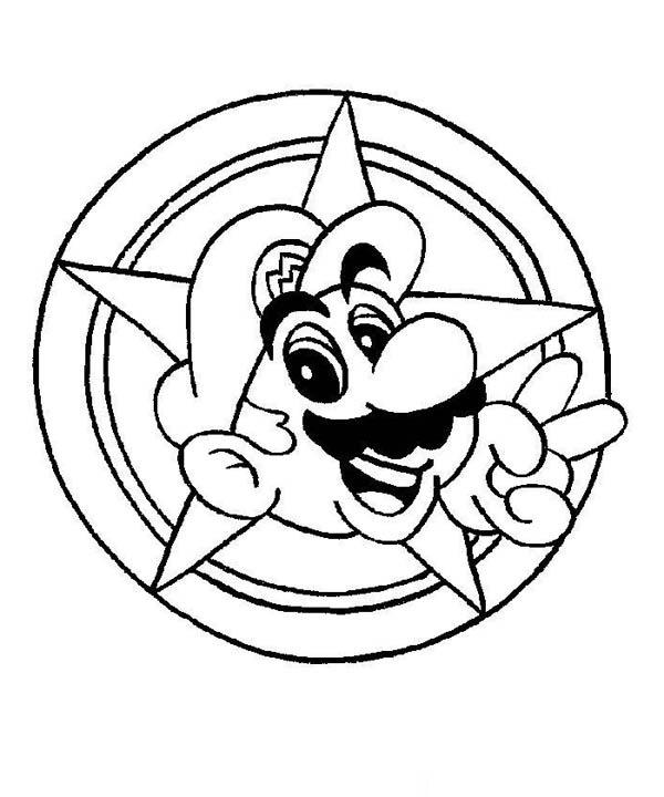 Mario Brothers, : Super Mario Brothers Galaxy Coloring Page