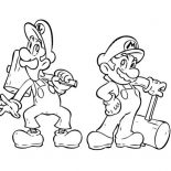 Mario Brothers, Super Mario Brothers Holding Wooden Hammer Coloring Page: Super Mario Brothers Holding Wooden Hammer Coloring Page