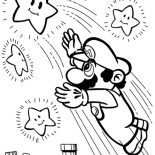 Mario Brothers, Super Mario Brothers Reach The Stars Coloring Page: Super Mario Brothers Reach the Stars Coloring Page