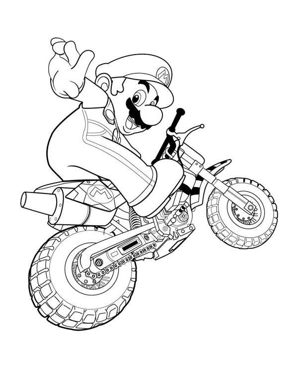 Mario Brothers, : Super Mario Brothers Ride Motorbike Coloring Page