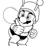 Mario Brothers, Super Mario Brothers Wearing Bee Costume Coloring Page: Super Mario Brothers Wearing Bee Costume Coloring Page