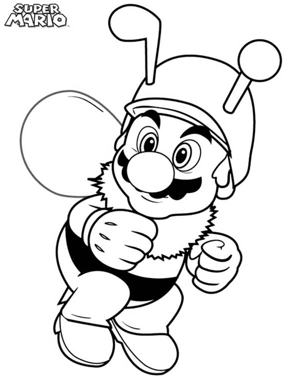 Mario Brothers, : Super Mario Brothers Wearing Bee Costume Coloring Page