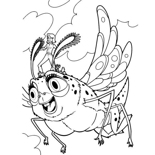 Monsters vs Aliens, : Susan Ride Insectosaurus in Monster vs Aliens Coloring Page