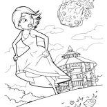 Monsters vs Aliens, Susan Running Away From Meteor In Monster Vs Aliens Coloring Page: Susan Running Away From Meteor in Monster vs Aliens Coloring Page