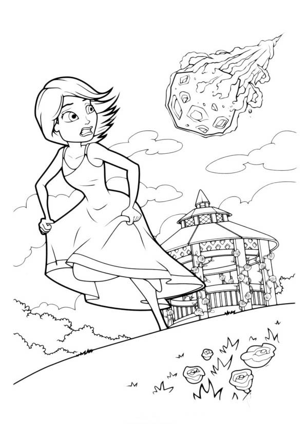 Monsters vs Aliens, : Susan Running Away From Meteor in Monster vs Aliens Coloring Page