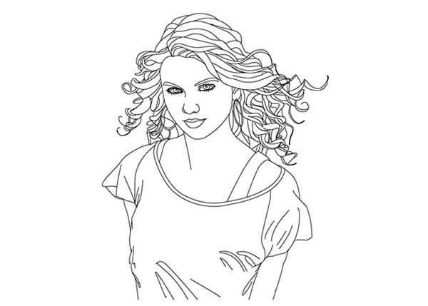 Taylor Swift, : Taylor Swift Coloring Page for Kids