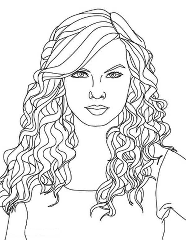 Taylor Swift, Taylor Swift Curly Hair Coloring Page: Taylor Swift Curly Hair Coloring PageFull Size Image