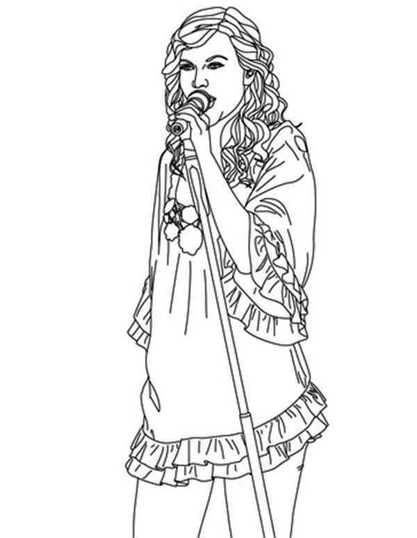Taylor Swift, : Taylor Swift Has an Angel Voice Coloring Page