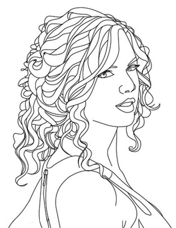 Taylor Swift, : Taylor Swift Image Coloring Page