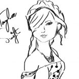 Taylor Swift, Taylor Swift Photo With Autograph Coloring Page: Taylor Swift Photo with Autograph Coloring Page
