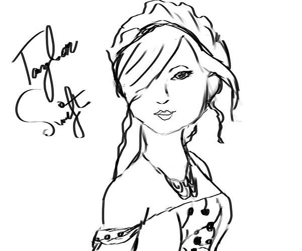 It's just a graphic of Transformative Taylor Swift Coloring Page