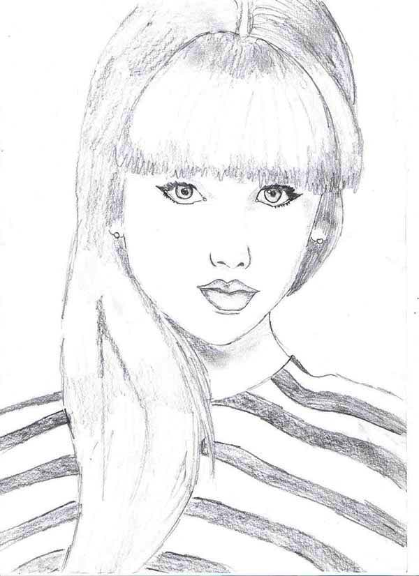 Taylor Swift, : Taylor Swift Picture Coloring Page