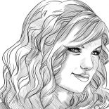 Taylor Swift, Taylor Swift Smile Coloring Page: Taylor Swift Smile Coloring Page