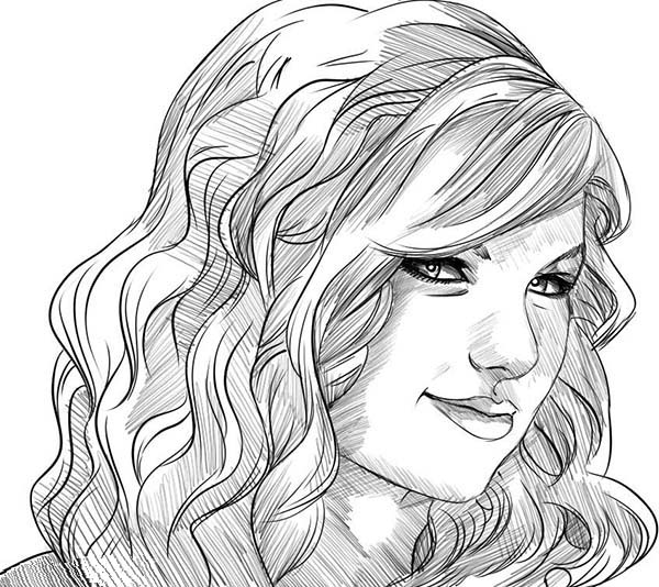 This is an image of Exhilarating Taylor Swift Coloring Page