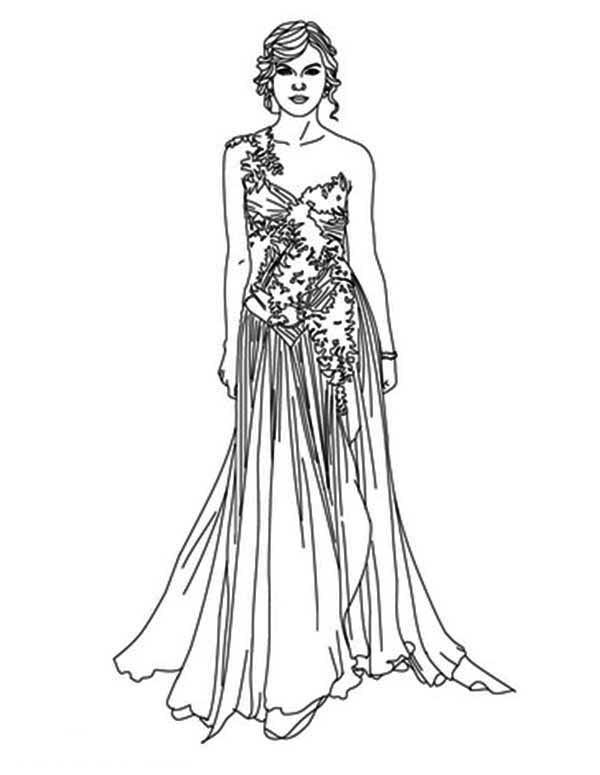 Taylor Swift, : Taylor Swift in Grammy Award Coloring Page