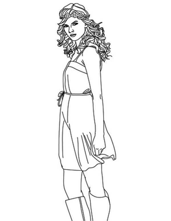 Taylor Swift, : Taylor Swift is Beautiful Singer Coloring Page