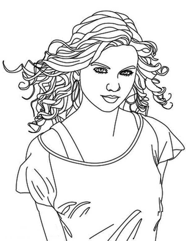 Taylor Swift, : Taylor Swift is Country Singer Coloring Page
