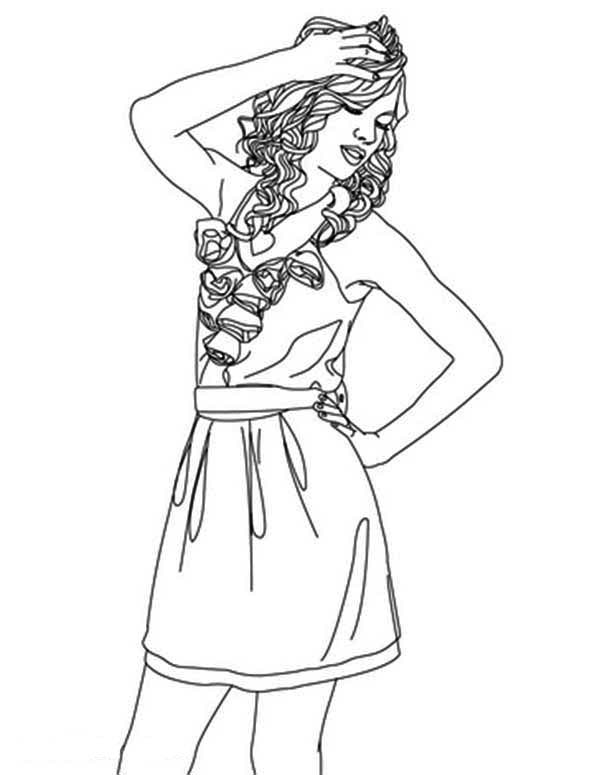 Taylor Swift, : Taylor Swift is Having Headache Coloring Page