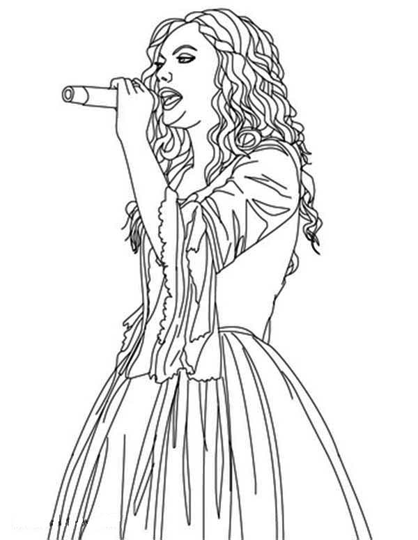 Taylor Swift, : Taylor Swift is Sing for You Coloring Page
