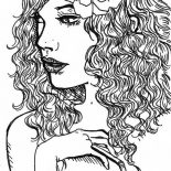 Taylor Swift, Taylor Swift With Flower On Her Hair Coloring Page: Taylor Swift with Flower on Her Hair Coloring Page