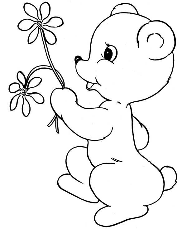 coloring pages teddy bear holding roses | Teddy Bear Bring You Flower Coloring Page : Color Luna