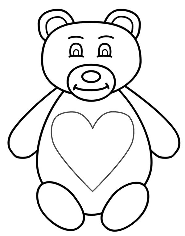 Teddy Bear, : Teddy Bear Full of Love Coloring Page
