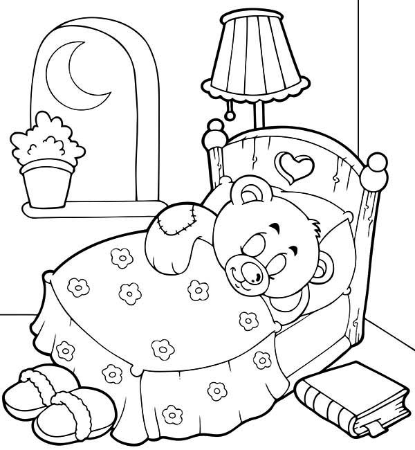 Teddy Bear, : Teddy Bear Sleep Tight Coloring Page
