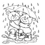 Teddy Bear, Teddy Bear Under Umbrella Coloring Page: Teddy Bear Under Umbrella Coloring Page