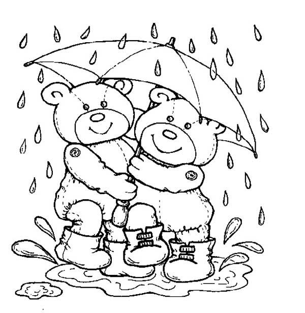 Teddy Bear, : Teddy Bear Under Umbrella Coloring Page