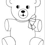 Teddy Bear, Teddy Bear Wear Cute Ribbon Coloring Page: Teddy Bear Wear Cute Ribbon Coloring Page