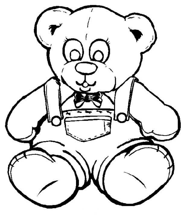 Teddy Bear, : Teddy Bear Wearing Jeans Coloring Page