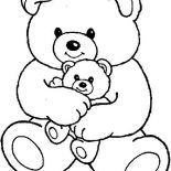 Teddy Bear, Teddy Bear And Little One Coloring Page: Teddy Bear and Little One Coloring Page