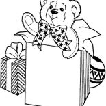 Teddy Bear, Teddy Bear For Birthday Present Coloring Page: Teddy Bear for Birthday Present Coloring Page