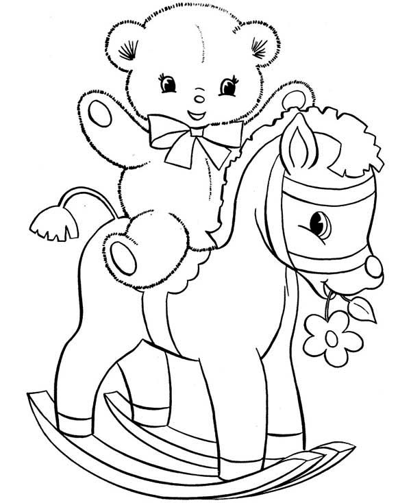 Teddy Bear, : Teddy Bear on Wooden Pony Coloring Page