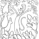 The Cat in the Hat, The Cat In The Hat In Garden Of Flowers Coloring Page: The Cat in the Hat in Garden of Flowers Coloring Page