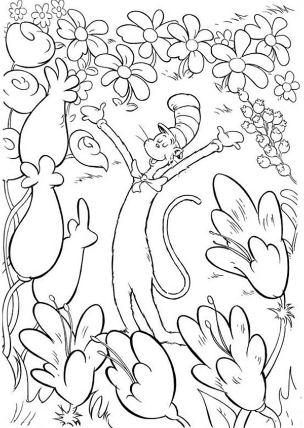 The Cat in the Hat, : The Cat in the Hat in Garden of Flowers Coloring Page